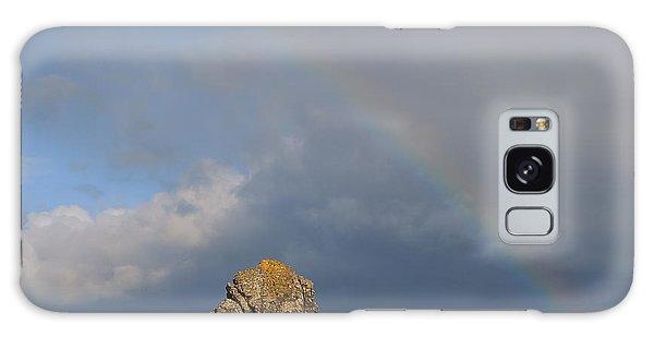 Rainbow Above Sango Bay Sea Stack Galaxy Case