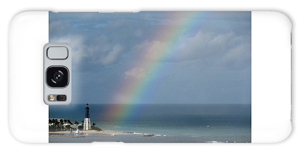 Rainbow At Lighthouse Galaxy Case