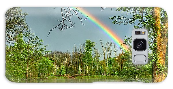 Rainbow At The Lake Galaxy Case