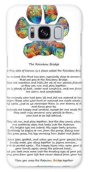 Rainbow Galaxy Case - Rainbow Bridge Poem With Colorful Paw Print By Sharon Cummings by Sharon Cummings