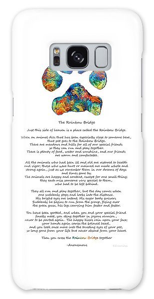 Rainbow Bridge Poem With Colorful Paw Print By Sharon Cummings Galaxy Case