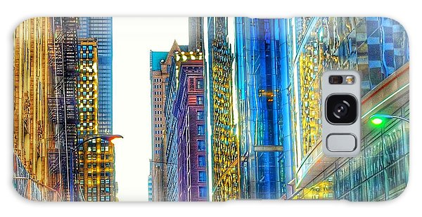 Galaxy Case featuring the photograph Rainbow Cityscape by Marianne Dow