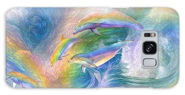 Rainbow Dolphins Galaxy Case by Carol Cavalaris