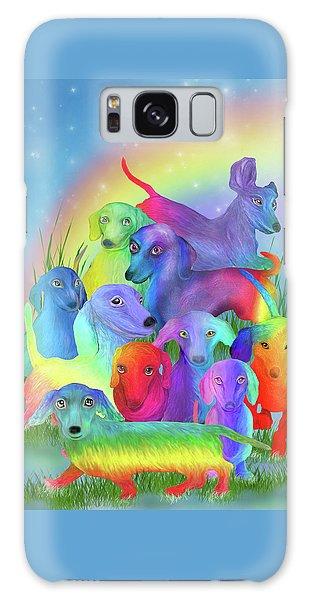 Galaxy Case featuring the mixed media Rainbow Dachshunds 1 by Carol Cavalaris