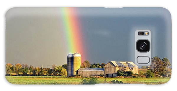Rainbow Over Barn Silo Galaxy Case