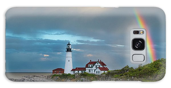 Rainbow Over Portland Head Light Galaxy Case