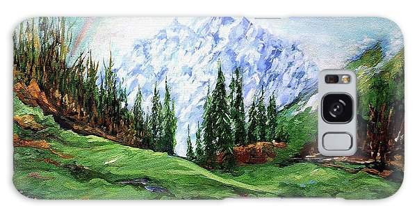 Rainbow Over The Snow Covered Mountain Galaxy Case