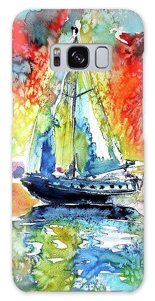 Rainbow Sailboat At Sunset Galaxy Case by Kovacs Anna Brigitta