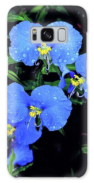 Raindrops In Blue Galaxy Case by Peg Urban