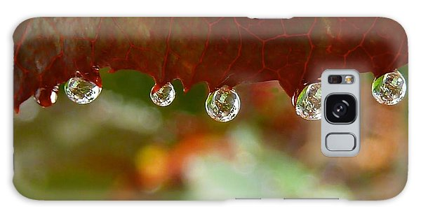 Raindrops On A Red Leaf Galaxy Case