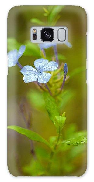 Green Leaf Galaxy Case - Raindrops On Petals by Az Jackson