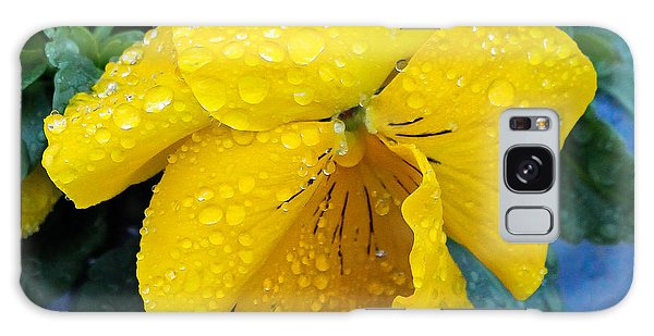 Raindrops On Yellow Pansy Galaxy Case by E Faithe Lester