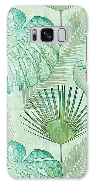 Foliage Galaxy Case - Rainforest Tropical - Elephant Ear And Fan Palm Leaves Repeat Pattern by Audrey Jeanne Roberts