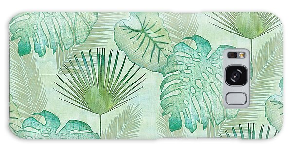 Florida Galaxy Case - Rainforest Tropical - Elephant Ear And Fan Palm Leaves Repeat Pattern by Audrey Jeanne Roberts