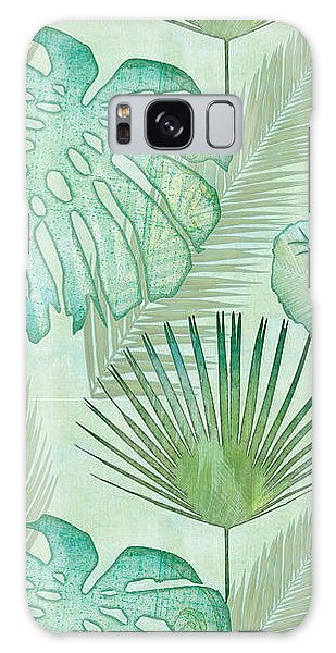 Beach Galaxy S8 Case - Rainforest Tropical - Elephant Ear And Fan Palm Leaves Repeat Pattern by Audrey Jeanne Roberts