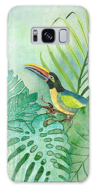 Leaf Galaxy Case - Rainforest Tropical - Tropical Toucan W Philodendron Elephant Ear And Palm Leaves by Audrey Jeanne Roberts