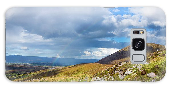 Raining Down And Sunshine With Rainbow On The Countryside In Ire Galaxy Case by Semmick Photo