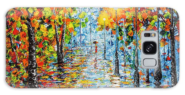 Galaxy Case featuring the painting Rainy Autumn Evening In The Park Acrylic Palette Knife Painting by Georgeta Blanaru
