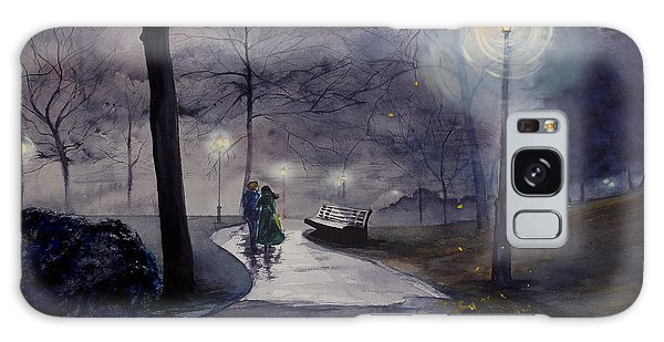 Rainy Night In Central Park Galaxy Case