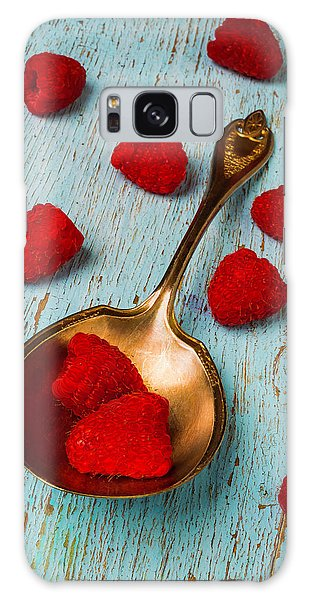 Raspberries With Antique Spoon Galaxy Case by Garry Gay