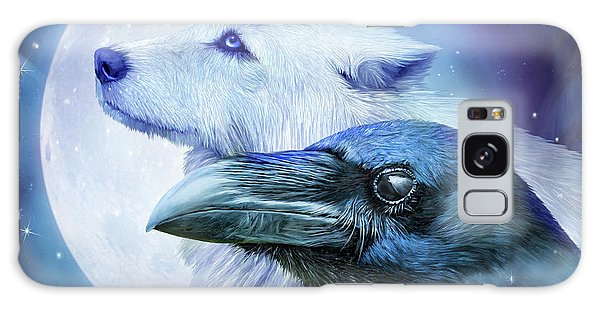 Galaxy Case featuring the mixed media Raven Wolf Moon by Carol Cavalaris