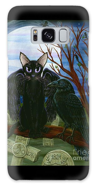 Raven's Moon Black Cat Crow Galaxy Case by Carrie Hawks