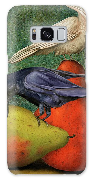 Ravens On Pears Galaxy Case by Leah Saulnier The Painting Maniac