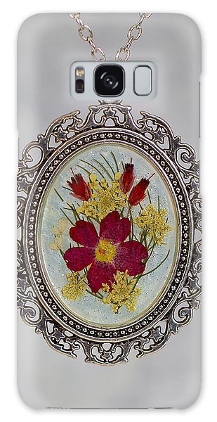 Real Pressed Verbena And Heather Blossoms Galaxy Case