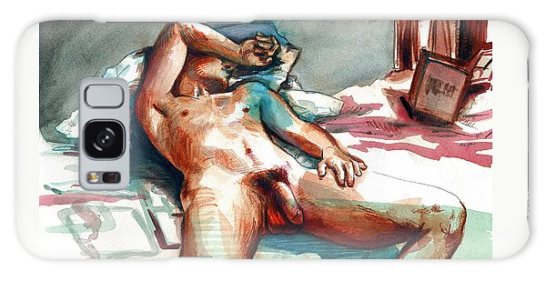 Galaxy Case featuring the painting Nude Reclined Male Figure by Rene Capone