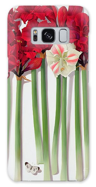 Amaryllis Galaxy Case - Red Amaryllis With Butterfly by Lizzie Riches