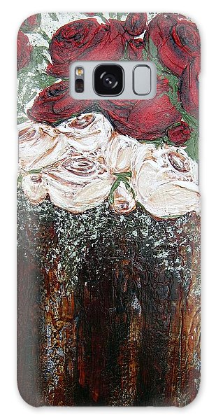 Red And Antique White Roses - Original Artwork Galaxy Case