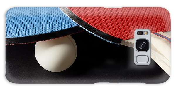 Red And Blue Ping Pong Paddles - Closeup On Black Galaxy Case