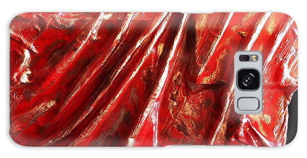 Red And Gold Shapes Galaxy Case by Angela Stout