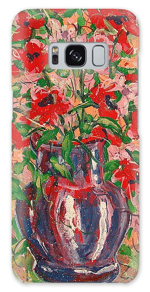 Red And Pink Poppies. Galaxy Case