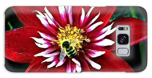 Red And White Flower With Bee Galaxy Case