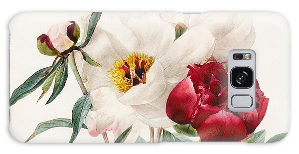 Decorative Galaxy Case - Red And White Herbaceous Peonies by Louise D'Orleans