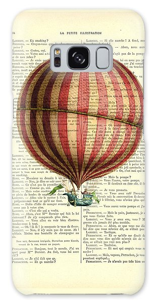 Hot Air Balloons Galaxy Case - Red And White Striped Hot Air Balloon Antique Photo by Madame Memento