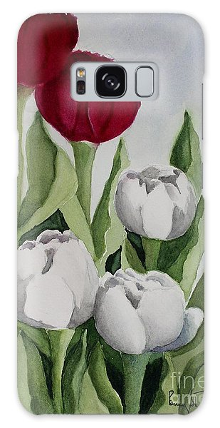Red And White Tulips Galaxy Case