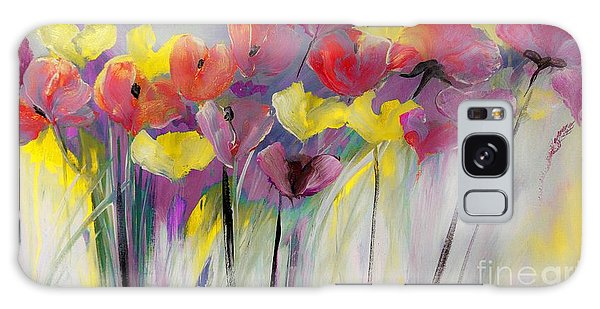 Red And Yellow Floral Field Painting Galaxy Case