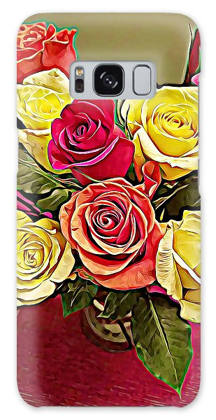 Red And Yellow Rose Bouquet Galaxy Case