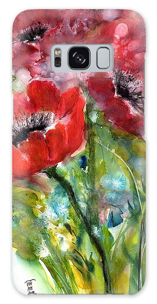 Red Anemone Flowers Galaxy Case