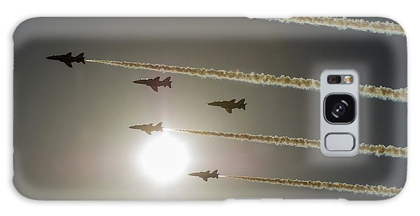 Galaxy Case featuring the photograph Red Arrows Backlit Arrival  by Gary Eason