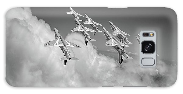 Galaxy Case featuring the photograph Red Arrows Sky High Bw Version by Gary Eason