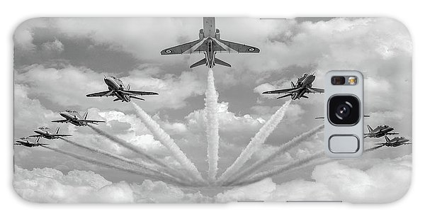 Galaxy Case featuring the photograph Red Arrows Smoke On Bw Version by Gary Eason