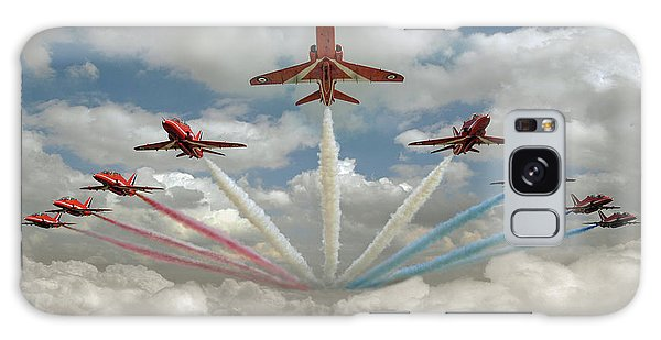 Galaxy Case featuring the photograph Red Arrows Smoke On  by Gary Eason
