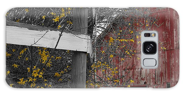 Red Barn And Forsythia Galaxy Case