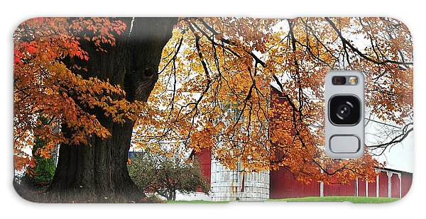 Red Barn In Autumn Galaxy Case