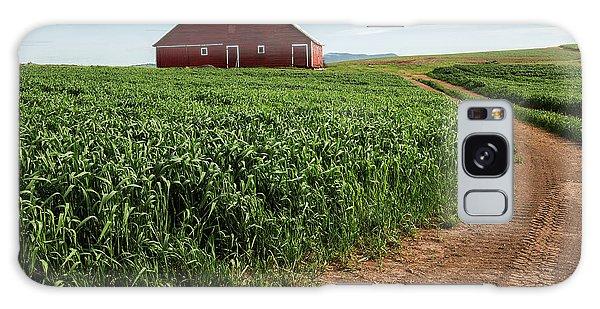 Red Barn In Green Field Galaxy Case