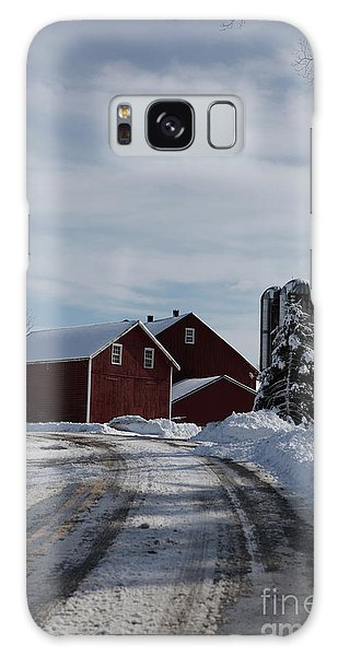 Red Barn In The Snow Galaxy Case