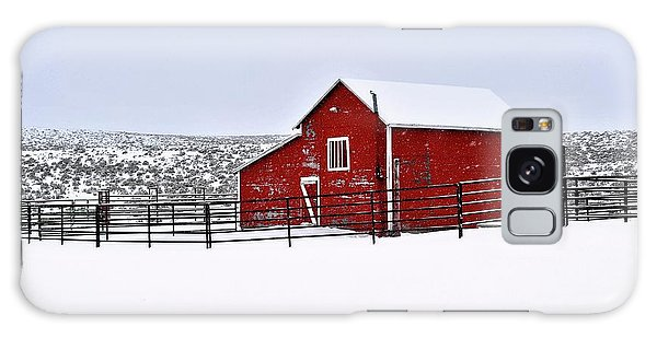 Red Barn In Winter Galaxy Case